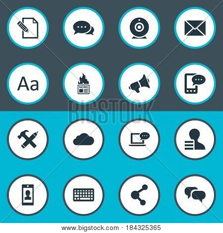 Vector Illustration Set Of Simple Newspaper Icons. Elements Gazette, Broadcast, Profile And Other Synonyms Phone, Keyboard And Contract.