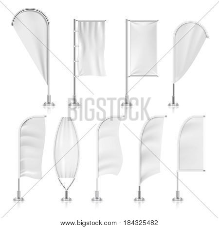 Blank outdoor white flags and advertising beach marketing banners vector set. Promotion flags template, illustration of commercial presentation white flag for advertising