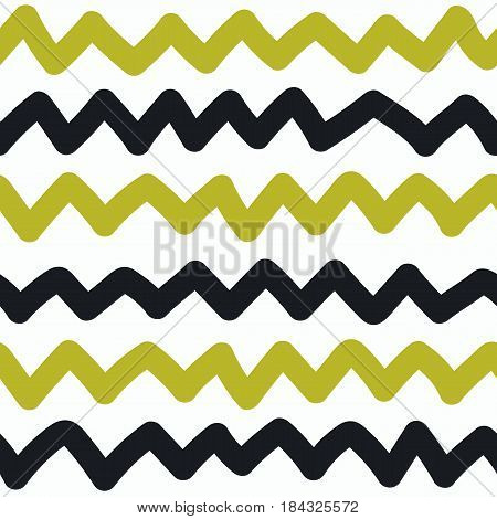 Kids hand drawn scribbled zigzag seamless pattern. Baby scribbles. Gold and black knitted ornament chevron. Vector illustration.