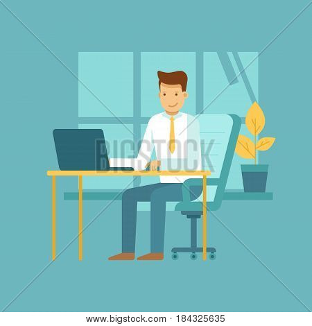 Guy Sitting At The Desk With Laptop - Freelance Work Concept