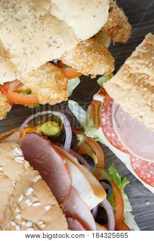 Fresh Sandwich In Fast Food Restaurant Menu