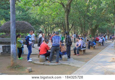 YANGSHOU CHINA - NOVEMBER 18, 2016: Unidentified people visit Yangshou Park.