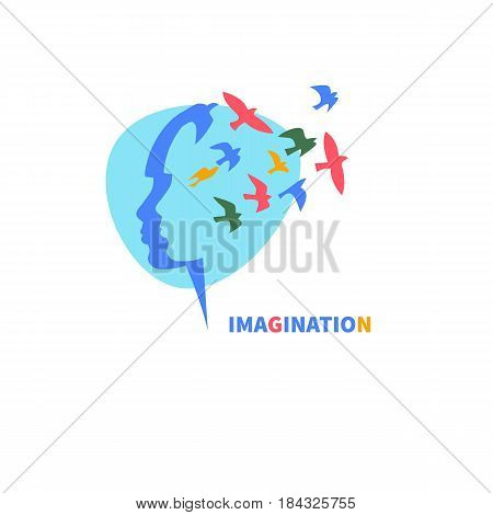 Profile of girl's head with flying bird. Logo icon imagination. Vector illustration.