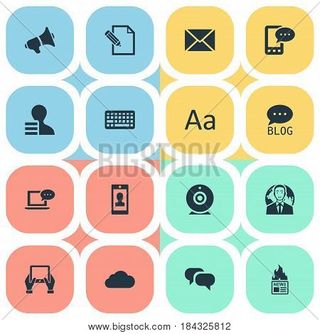 Vector Illustration Set Of Simple Blogging Icons. Elements Overcast, Cedilla, Site And Other Synonyms International, Post And Overcast.