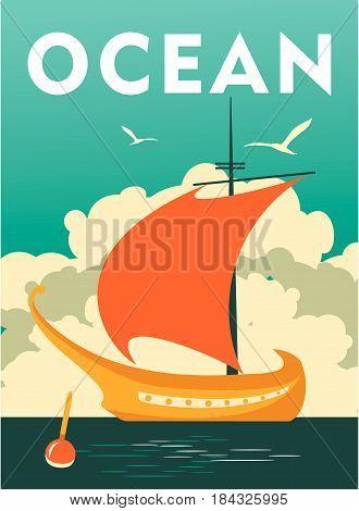 Vector illustration sailfish fishing on a vintage poster sea theme travel