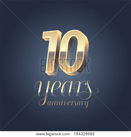 10th anniversary vector icon logo. Gold color graphic design element for 10 years anniversary birthday banner