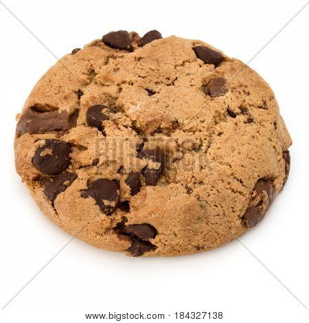 One Chocolate chip cookie isolated on white background. Sweet biscuit. Homemade pastry.