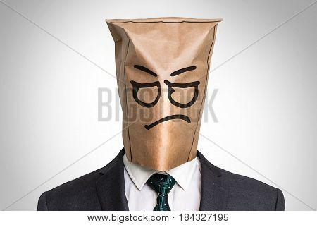 Businessman With A Bag On The Head - With Sad Face