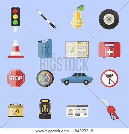 Auto transport motorist icons symbol vehicle equipment service car vector illustration