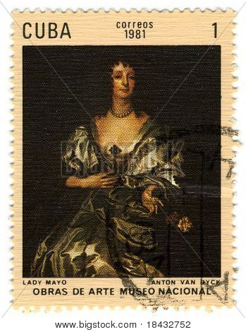 CUBA - CIRCA 1981: A stamp printed in CUBA shows paint by Anton Wan Dick