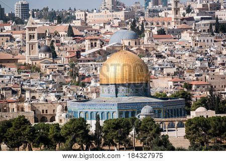 The Temple Mount - the golden Dome of the Rock mosque in the old city of Jerusalem, Israel