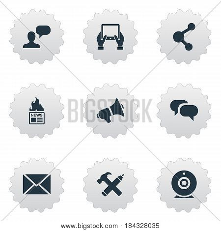 Vector Illustration Set Of Simple Blogging Icons. Elements Repair, Man Considering, Post And Other Synonyms Debate, Considering And Share.