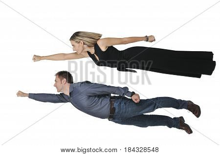 Falling Or Flying Man And Woman