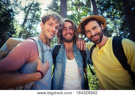 Portrait of smiling male friends standing together with arm around in forest on a sunny day
