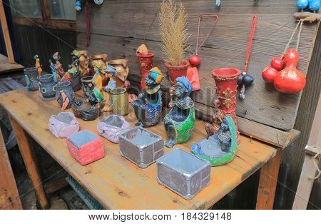 YANGSHOU CHINA - NOVEMBER 19, 2016: Traditional handicraft shop in Xingping old street. Xingping is a historical fishing village near Li river.