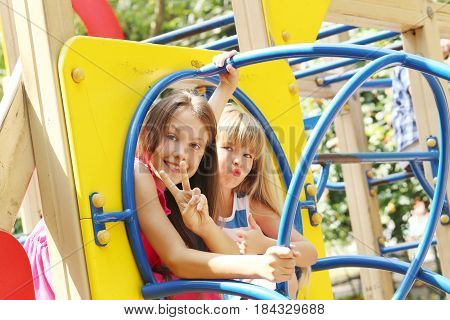 Portrait of childrens having fun on the playground