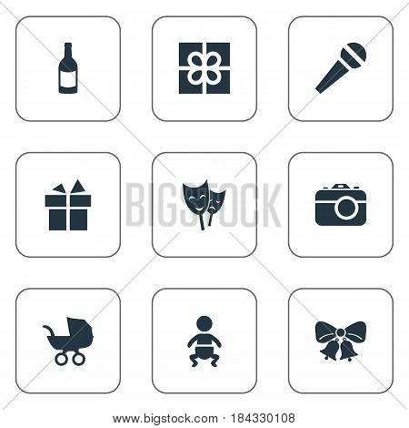 Vector Illustration Set Of Simple Holiday Icons. Elements Baby Carriage, Infant, Mask And Other Synonyms Prize, Microphone And Carriage.
