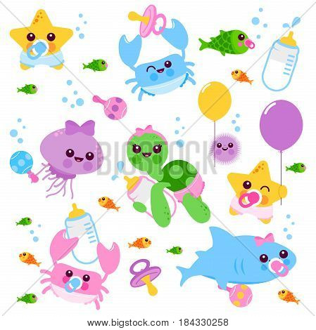 Cute baby sea animals wearing diapers, pacifiers and holding balloons, toys and milk bottles. Vector illustration