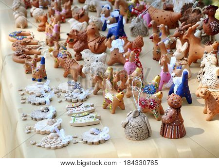 Grodno, Belarus - June 4, 2016: Many different clay toys sold at the festival of national cultures in Grodno.