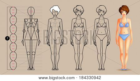 Drawing lesson female body. How to draw