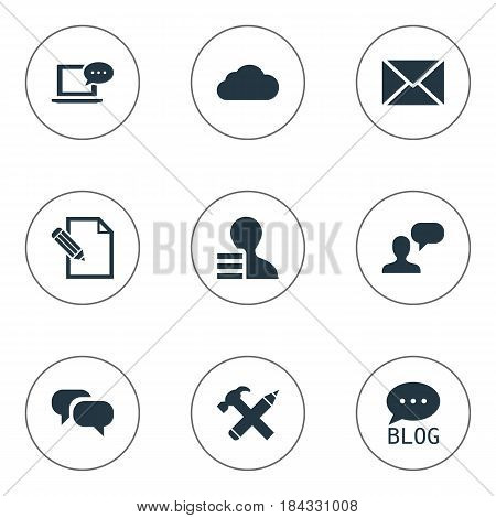 Vector Illustration Set Of Simple Newspaper Icons. Elements Overcast, Post, Site And Other Synonyms Coming, Overcast And Site.
