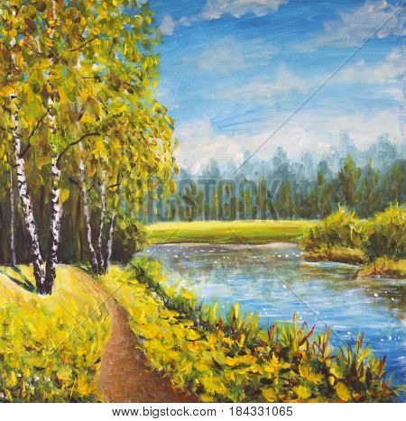 Original oil painting summer landscape sunny nature on canvas. Beautiful far forest rural landscape landscape. Modern impressionism art.