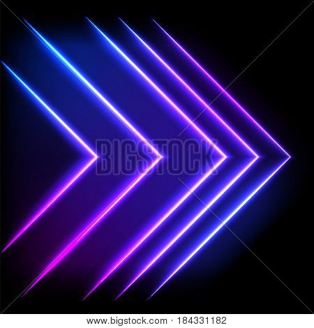 Colorful neon arrow background, abstract illustration.