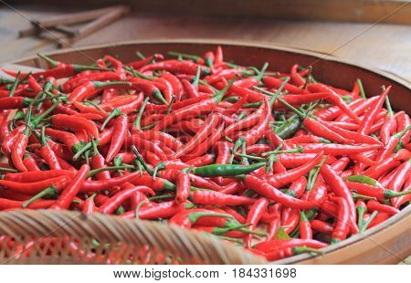 Red pepper in bamboo basket in Guilin China