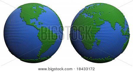 Stylized globe.