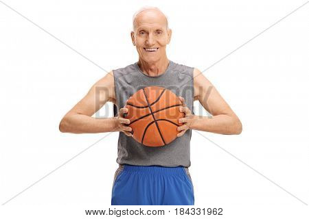 Senior with a basketball looking at the camera and smiling isolated on white background