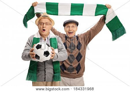 Excited elderly football fans cheering isolated on white background