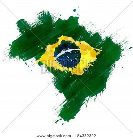 Grunge map of Brazil with Brazilian flag