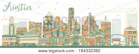 Abstract Austin Skyline with Color Buildings. Business Travel and Tourism Concept with Modern Architecture. Image for Presentation Banner Placard and Web Site.
