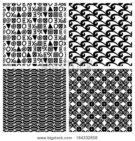 Primitive decor texture blocks. Vector traditional print monochrome fashion seamless patterns