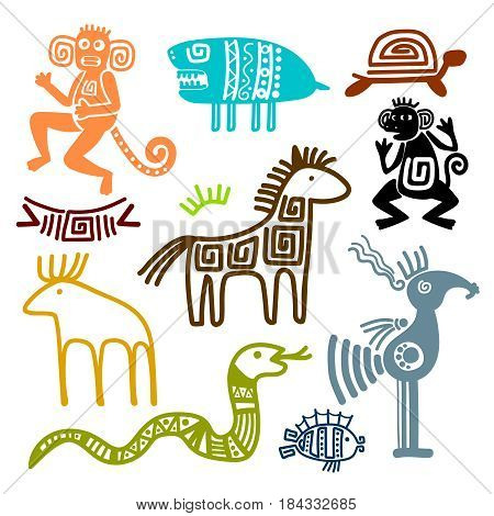 Aztec and maya ancient animal symbols isolated on white background. Inca indians culture patterns vector illustration