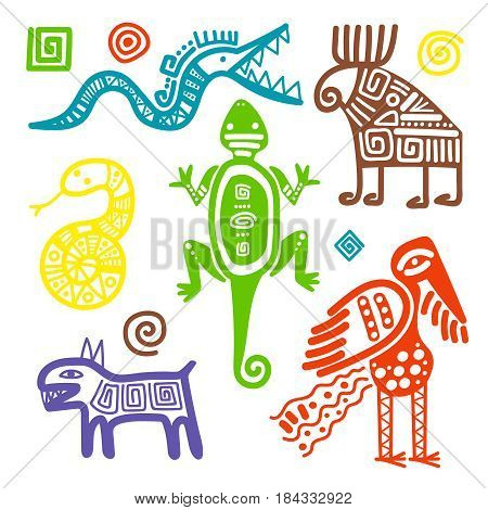 Vector african or mexican culture primitive tribal signs isolated on white background. Ethnic ancient symbols