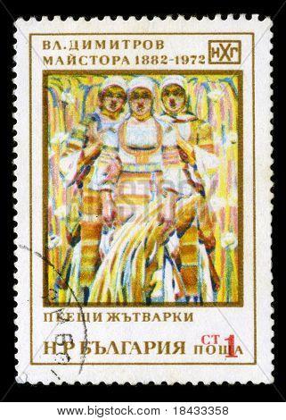 BULGARIA - CIRCA 1972: A stamp printed in BULGARIA shows paint by V. Dimitrov-Maistora circa 1972.