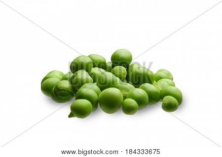 Extreme close-up image of fresh bean in a pod on white background