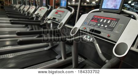 Image of treadmills in fitness club