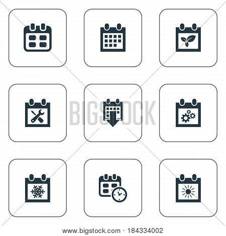 Vector Illustration Set Of Simple Date Icons. Elements Almanac, History, Event And Other Synonyms Almanac, Sun And Plant.