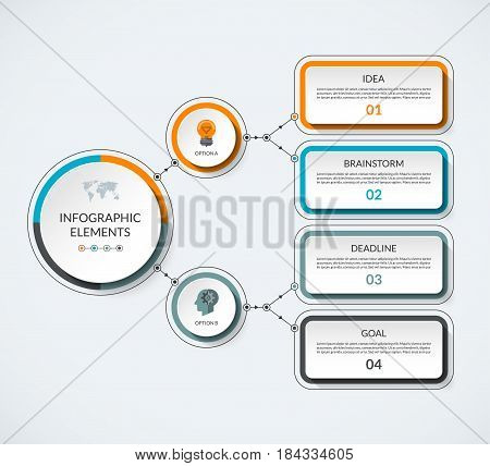Infographic template with 2 option circles and 4 tabs. Modern minimalistic vector banner that can be used as chart diagram graph table workflow layout for web report business presentation