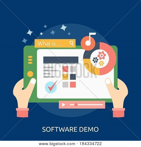 Software Demo Conceptual Design | Great flat illustration concept icon and use for Business, Creative Idea, Concept, Marketing and much more