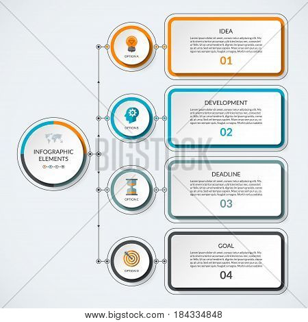 Infographic template with 4 option circles and tabs. Modern minimalistic vector banner that can be used as chart, diagram, graph, table, workflow layout for web, report, business presentation