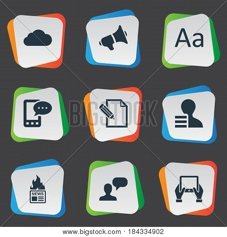 Vector Illustration Set Of Simple User Icons. Elements Gazette, Notepad, Man Considering And Other Synonyms E-Letter, Earnings And Overcast.