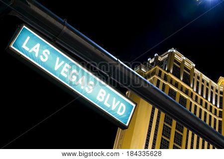 Las Vegas Boulevard signal at night (Nevada)