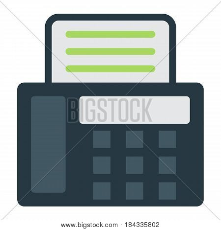 Fax flat icon, Contact us and website button, vector graphics, a colorful solid pattern on a white background, eps 10.