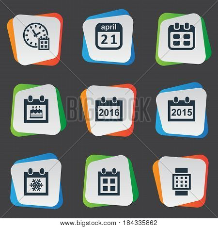 Vector Illustration Set Of Simple Time Icons. Elements Remembrance, Deadline, Reminder And Other Synonyms Reminder, Time And Winter.