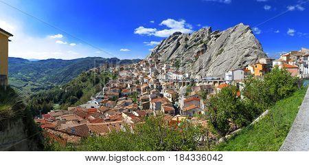 Pietrapertosa village built in the mountain rock Basilicata Southern Italy