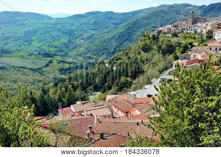 Italy Basilicata Pietrapertosa - panoramic view of the city and the valley