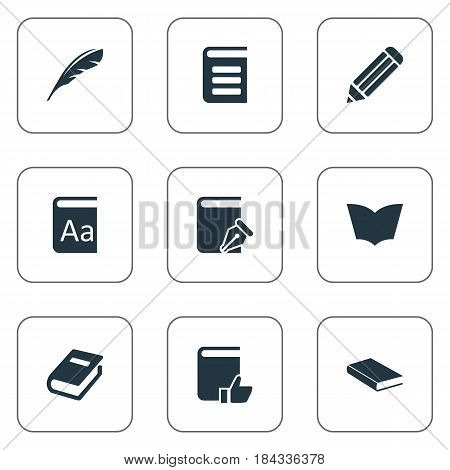 Vector Illustration Set Of Simple Knowledge Icons. Elements Plume, Pen, Recommended Reading And Other Synonyms Encyclopedia, Pencil And Notebook.